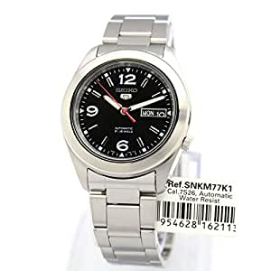 Seiko 5 Automatic Black Dial Stainless Stell Mens Watch SNKM77