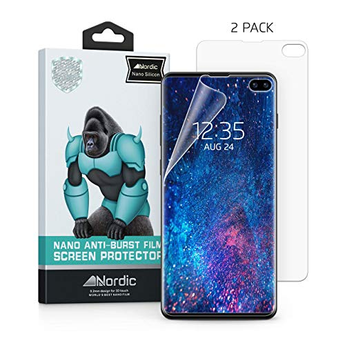 [2-Pack] Nordic Nano Film [Case Friendly] Screen Protector for Galaxy S10 Plus (S10+ 6.4) [NOT Compatible with Verizon S10 5G 6.7] (Works Fingerprint ID) Easy Install & Bubble Free
