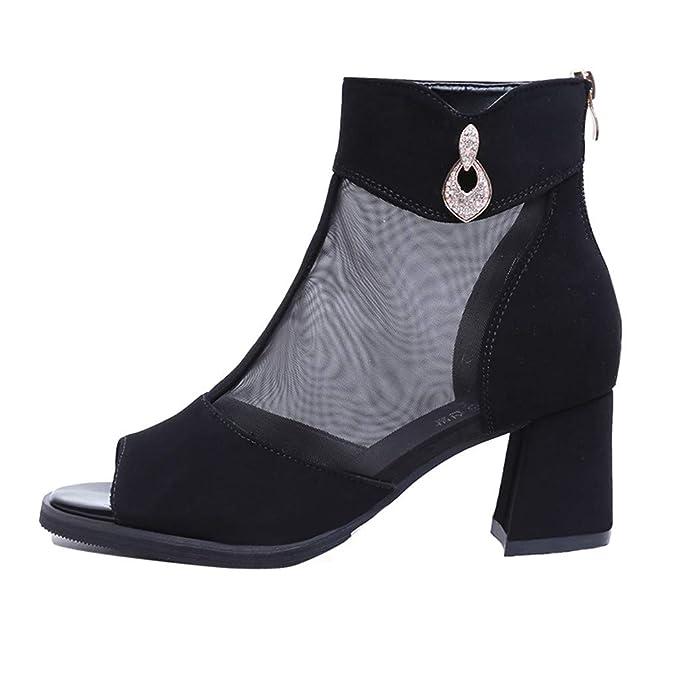 18b652befb4 Women s Chunky Heel Platform Sandals Summer Mesh Casual Peep Toe Shoes  Ankle Booties Black