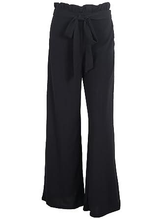 Missy Chilli Damen Hose Elegant Lockere High Waist Chiffon Weites Bein Hose  Trousers mit Gurtel  Amazon.de  Bekleidung adf8edb82f