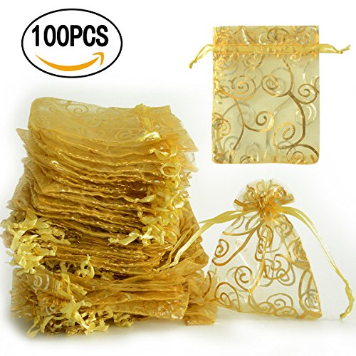 kingleder 100PCS 3'' x 4'' Golden Drawstring Organza Gift Bags Jewelry Pouches Festival Wedding Party Favor Candy Wrap Bags(8x10CM)