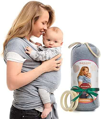 Baby Wrap Carrier - Ring Sling for Newborn and Infant - Nursing Cover & Blanket - Free Rings and Pouch - Moby Holder - Breathable & Stretchy Cotton - Gray - Perfect Baby Shower Gift by QAQADU