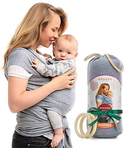 Baby Wrap Carrier - Ring Sling for Newborn and Infant - Nursing Cover & Blanket - Free Rings and Pouch - Moby Holder - Breathable & Stretchy Cotton - Gray - Perfect Baby Shower Gift