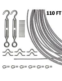 Joddge Kit de luces de acero inoxidable, kit de suspensión de cadena de luz, alambre de guía de luz para exteriores, incluye cable de cuerda de 360.9 ft, hebilla y ganchos