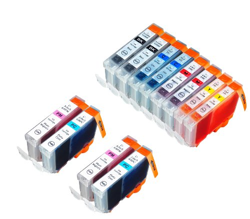 12 Pack Compatible Canon CLI-8 2 Small Black, 2 Cyan, 2 Light Cyan, 2 Light Magenta, 2 Magenta, 2 Yellow for use with Canon Pixma iP6600D, Pixma iP6700D, PIXMA MultiPASS MP950, PIXMA MultiPASS MP960, PIXMA MultiPASS MP970. Ink Cartridges for inkjet printe