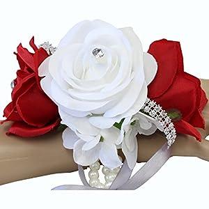 Angel Isabella Wrist Corsage-3 Rose Arrangement with Hydrangea Keepsake Artificial Flower Prom Dance Graduation Events (Red White)