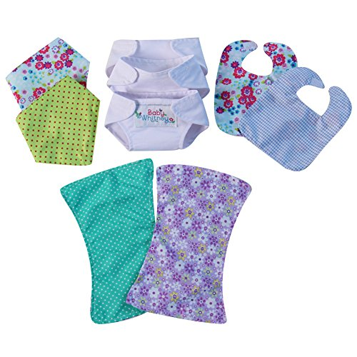 Baby Doll Just Like Mommy Starter Set: 2 Bibs, 3 Diapers, 2 Burp Cloths