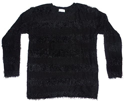 - Joseph A. Womens Pullover Eyelash Sweater Large Black Stripe