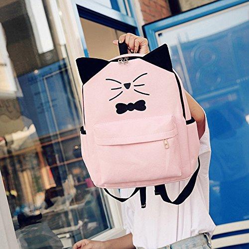 ESAILQ Bolsos Mochila de Escolares Mini Lindo para Adolescentes Mujer Niñas Estudiantes Rosado