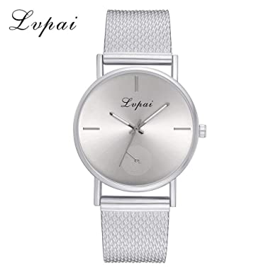 Lvpai Womens Casual Quartz Silicone Strap Band Watch Analog Wrist Watch Silver