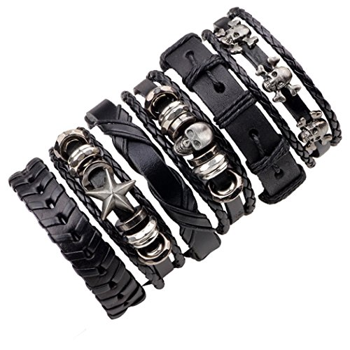 The Original Design of The New 6 Woolly Leather Bracelet Skull Tide Male Black Series Woven Leather ()