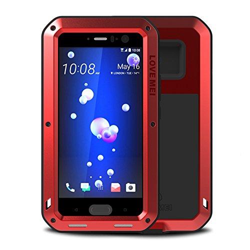 HTC U11 Case,Feitenn Hybrid Armor Alloy Aluminum Metal Bumper Case Gorilla Glass Soft Rubber Military Heavy Duty Shockproof Hard Water resistant Case For HTC U11 (Red)