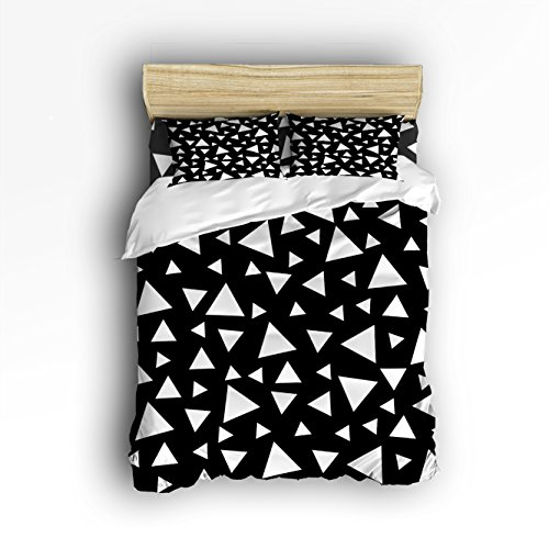 hot sale 2017 Libaoge 4 Piece Bed Sheets Set, Monochrome Geometric Triangles Design, 1 Flat Sheet 1 Duvet Cover and 2 Pillow Cases