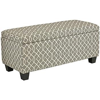 Delightful Cortesi Home Kiki Fabric Storage Long Bench Ottoman, Grey