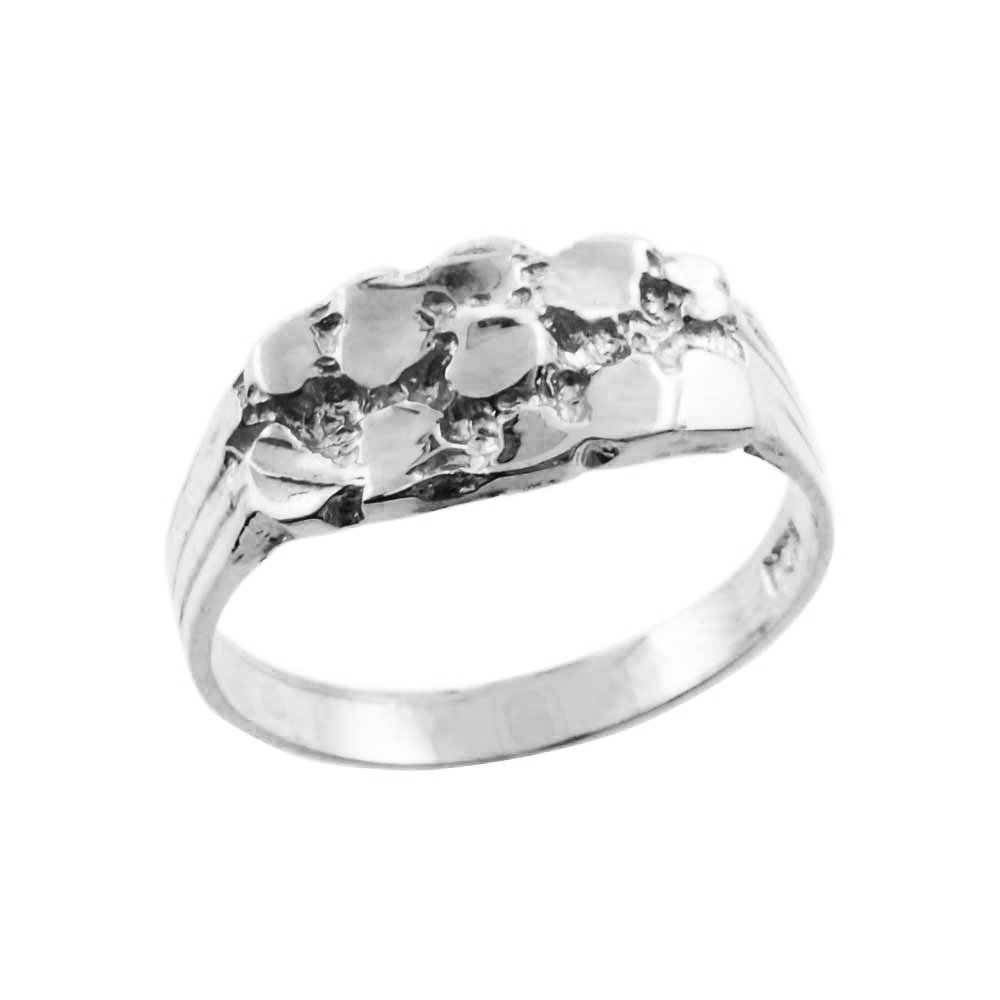 Solid 14k White Gold High Polish Baby Nugget Ring for Boys (Size 5)