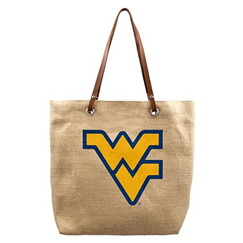 NCAA West Virginia Mountaineers Burlap Market Tote, 17 x 4.5 x 14-Inch, Natural West Virginia Tote