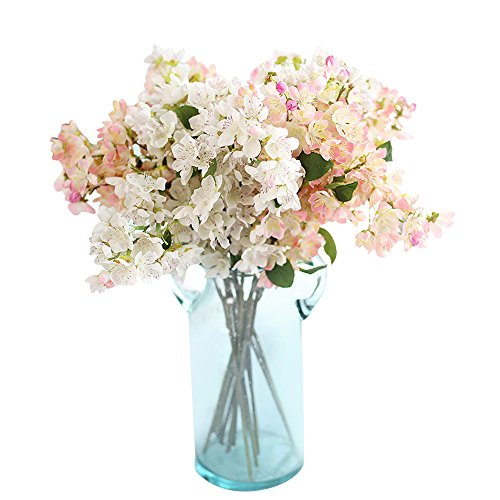 Artificial Fake Flowers Mokao Refreshing Cherry Blossoms Real Touch Vintage Floral Wedding Bouquet Party Home Decoration Cafe Bookstore Garden Office Hotel DIY Decor (Beige)