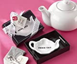 Swee-Tea Ceramic Tea-Bag Caddy in Black & White Serving-Tray Gift Box - 96
