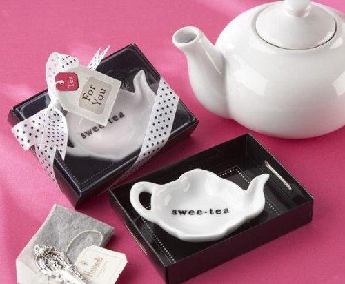 Swee-Tea Ceramic Tea-Bag Caddy in Black & White Serving-Tray Gift Box - 96