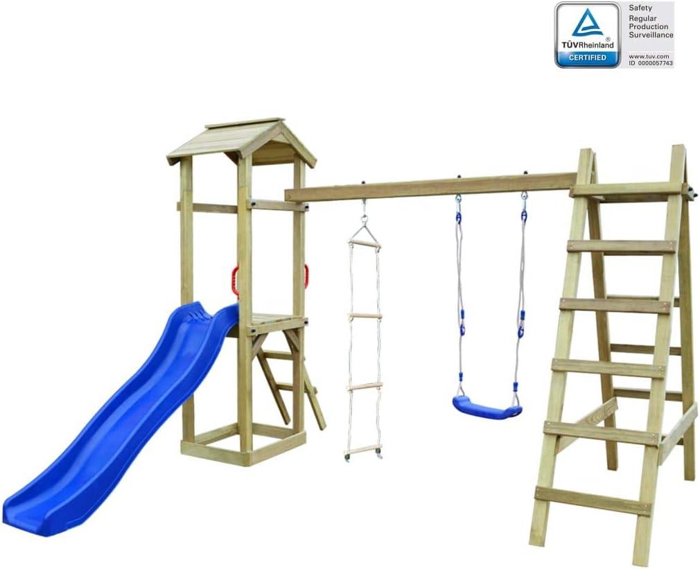 Arichtop – Casa de Juegos con Escalera corredera, Escalera de Madera, Torre para niños, Juego con Columpio, Escalera, Escalera Azul: Amazon.es: Hogar