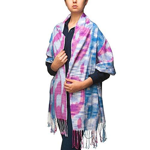 Ikat Handmade Ornament Scarf Wrap Sky Lights for Women and Men Barno Fashion by BLAGOO (Blue Dawn)