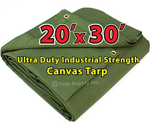 30' Canvas (Ultra Duty 20'x30' Finished Size Industrial Strength Green Polyester Canvas Tarp with Brass Grommets Approx Every 2 Feet All Round)
