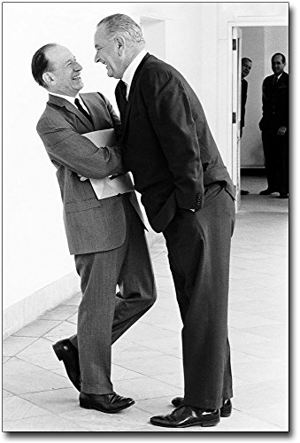Lyndon Johnson & Abe Fortas Laughing 8x12 Silver Halide Photo Print by The McMahan Photo Art Gallery & Archive