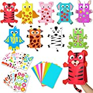WATINC 9Pack Hand Puppet Art Craft Paper Sock Puppets DIY Making Your Own Puppet Kits Party Favors Wiggle Goog