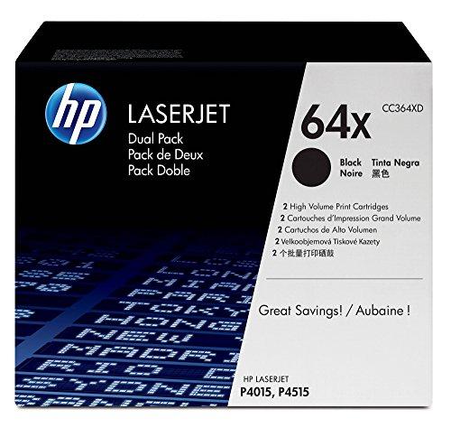 (HP 64X (CC364X) Black Toner Cartridge High Yield, 2 Toner Cartridges (CC364XD)  for HP LaserJet P4015 P4515)