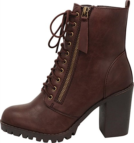 79311a75e47 Cambridge Select Women s Closed Round Toe Lace-Up Chunky Heel Moto Combat  Boot