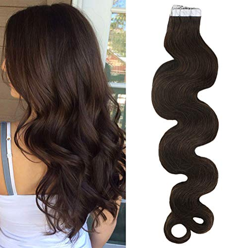 Sunny 16inch Wavy Tape in Remy Human Hair Extensions #4 Dark Brown 20pcs 50g Seamless Hair Extensions Tape ins Brazilian Human Hair ()