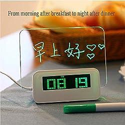 LDJC Digital Alarm Clock, LED Fluorescent Message Board Digital Alarm Clock Luminous Backlight Sensing Student Alarm Clock Fluorescent Information Memo,Green