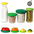 Food Huggers Reusable Silicone Food Savers Fruits and Vegetables Storage Containers, 4 Pack