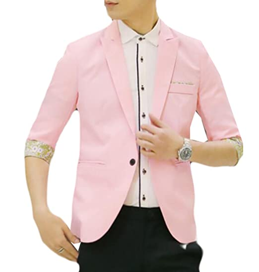 WSPLYSPJY Mens Slim Fit 3/4 Sleeve Designer Blazer Jacket 1 XS