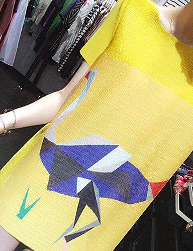 Arrondi Polyester Lyq Soirée Au Genou 3xl Grandes Dentelle Dessus Du Col Tailles Couleur Pleine Femmes Yellow Robe Aux r6qrz