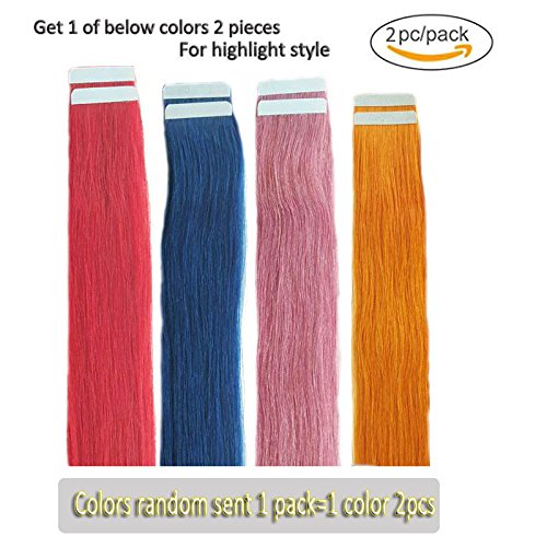 Beauty : Tape in Human Hair Extensions Highlight 2 Pieces, Four Colors Randomly Sent for Party Highlight Including One Color 2 pc Hair (20in Long Weight 5g)