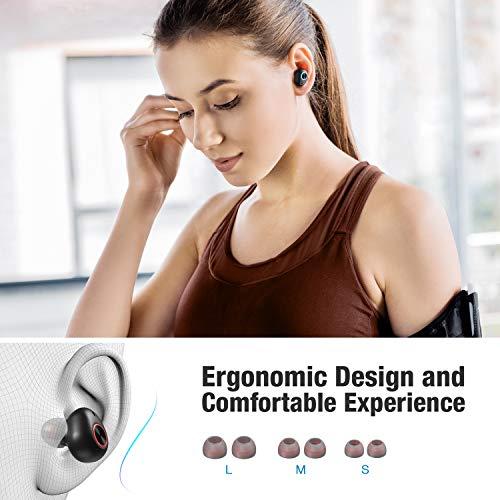 Bluetooth Earbuds Wireless, POWERADD True Wireless Earbud Bluetooth 5.0 Bass Stereo Headphones - IPX7 Waterproof & Noise Cancelling & Ergonomic in-Ear Earphones with Charging Case & Microphones, Black