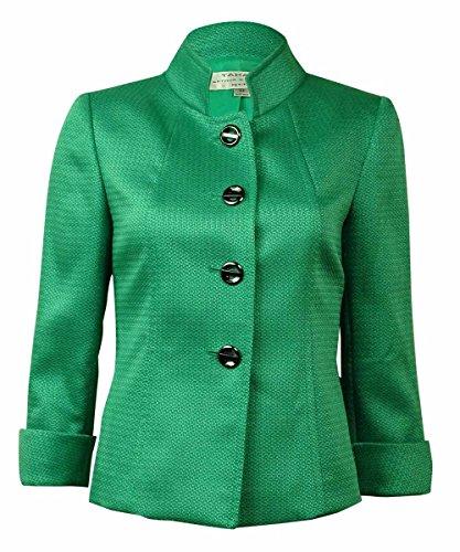 Tahari Women's Cuffed Four Button Textured Blazer (18W, Green)