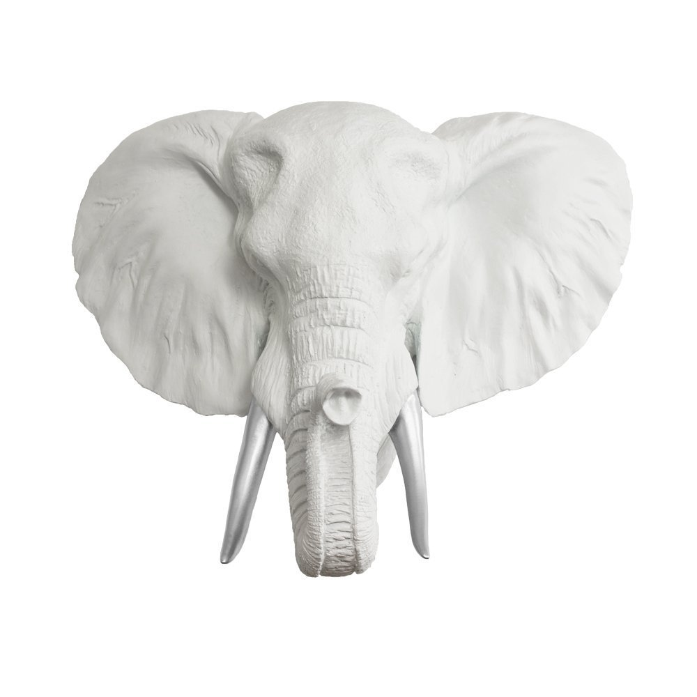 Wall Charmers Mini Faux Elephant Head Elephant Decor Room Decor Wall Art| Hand Finished Home Decor Farmhouse Decor Office Decor Rustic Wall Decor Rustic Home Decor Accents, White + Silver Tusk