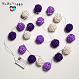 Purple, 2M 20 LED : 2M 20 Rattan LED Garland Battery Powered Thai Lanterns For Holiday Bedroom Indoor Decoration String Lights Kids Baby Light Chain