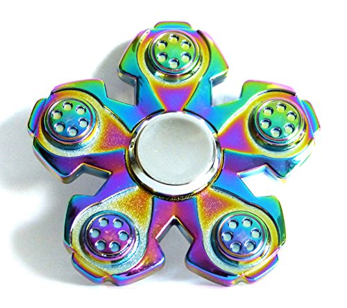 Fidget Spinner Edc Sensory Hand Toy Ideal For Stress Relief  Add  Adhd  Autism  Focus   Unique Zinc Alloy Rainbow Color Five Sided Design And Durable Metal Bearings For High Top Speed  Prime Delivery