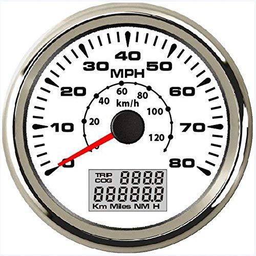 (ELING Waterproof Marine Auto GPS Speedometer Odometer 0-80MPH 0-120KM/H with ODO COG Trip 85mm)