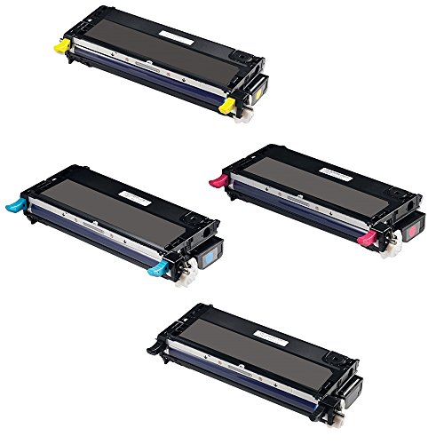 (Empire Supplies Set of 4 Remanufactured 3110 Toner for Dell PF030 XG721 Black PF029 XG722 Cyan RF013 XG723 Magenta NF556 XG724 Yellow Toner Cartridge used with Dell 3110cn 3115cn Printer (8,000 Pages))
