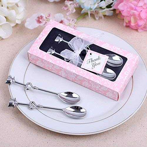 Yuokwer Pack of 24 Coffee Drinking Spoon Teaspoon Set Wedding Favors and Gifts Wedding Gifts for Guests Bridal Shower Souvenirs Party Supplies (24 Pcs Coffee Spoon)
