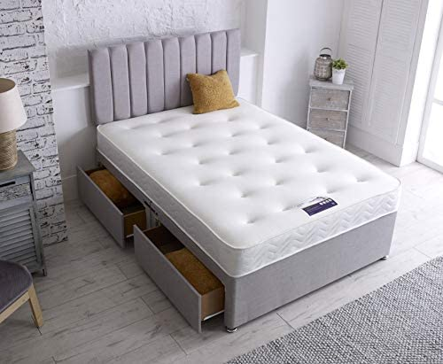 Daniel Beds & Furniture ltd BIANCA Divan Base Complete With Headboard and Memory Foam Mattress (DOUBLE 4ft6)