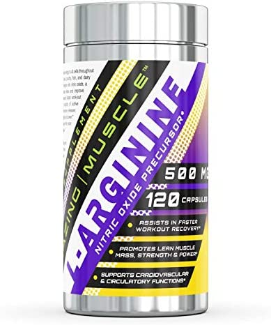 Amazing Muscle L-Arginine Essential Amino Acid 500 Mg, 120 Capsules – Workout Muscle Recovery Supplements -Assists in Faster Workout Recovery -Promotes Lean Mass Muscle