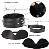 Bondage Restraint Kit 11Pcs Fetish Bed Restraints System with Handcuffs Footcuffs Whip Rope Blindfold Mask Mouth Gag Magic Wand Cross Strap Couples Toy Set for Couples
