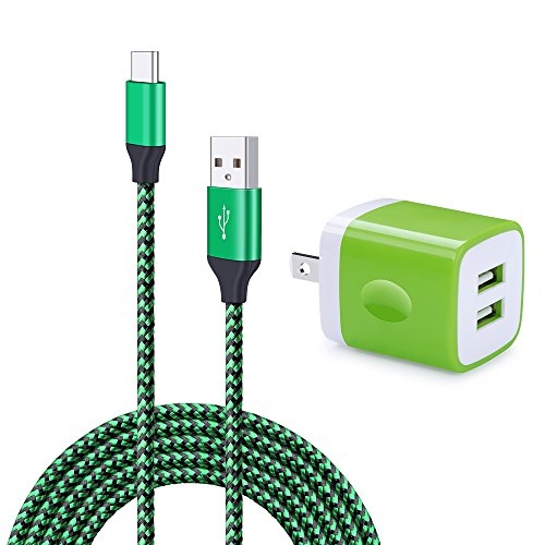 Wall Charger Dual Port Adapter with 6ft USB C Cable, Kakaly Charge Sync Cable Cord for Samsung Galaxy S8/S8+, LG G5/G6/V20/V30, Nexus 5x/6p, Nintendo Switch &More-Green