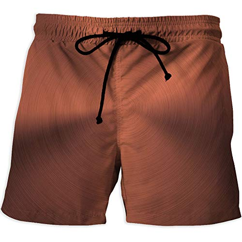 Quick Dry Beach Shorts with Pockets Mesh Lining Swim Short,Copper DecorPrinted Quick-Drying Swimming Realistic Circular Brushed Texture Image Iron Stainless Steel Business Modern Decorative