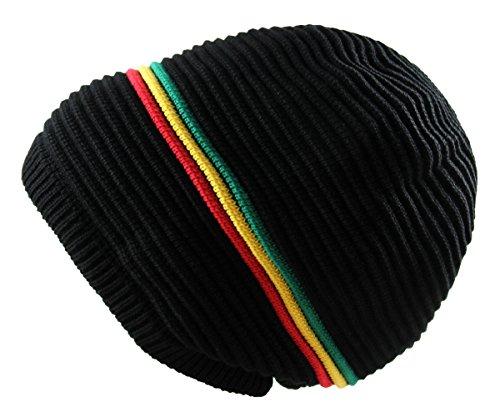 RW Rasta 100% Cotton Knitted Beanie For Long DreaLock (Black/Rasta) - Rasta Long Beanie